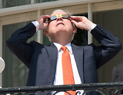 United States Attorney General Jeff Sessions looks at the partial eclipse of the sun from the Blue Room Balcony of the White House in Washington, DC, USA, on Monday, August 21, 2017. Photo by Ron Sachs/CNP/ABACAPRESS.COM