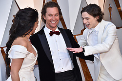 Camila Alves, Matthew McConaughey and Timothee Chalamet walking the red carpet as arriving for the 90th annual Academy Awards (Oscars) held at the Dolby Theatre in Los Angeles, CA, USA, on March 4, 2018. Photo by Lionel Hahn/ABACAPRESS.COM