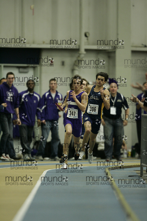 (Windsor, Ontario---13 March 2010) Rob Gooch of University of Western Ontario Mustangs  competes in the men's 4X400 meters at the 2010 Canadian Interuniversity Sport Track and Field Championships at the St. Denis Center. Photograph copyright GEOFF ROBINS/Mundo Sport Images. www.mundosportimages.com