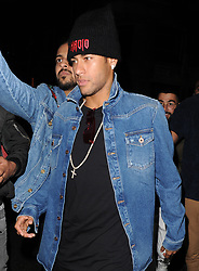 Neymar da Silva Santos Júnior aka Neymar Jr, leaving Tape nightclub. The Brazilian footballer got onto a bus with around 30 women, which drove them across town to Hammersmith, where a number of the scantily clad women got off the bus to use the toilet. Neymar was partying on the evening news had broken that he has asked for his team mate Edinson Cavani at Paris Saint-Germain to be sold, following a bust up between the pair.<br /><br />20 September 2017.<br /><br />Please byline: Will/Vantagenews.com