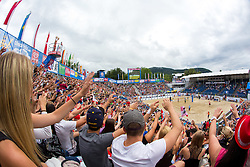 31-07-2014 AUT: FIVB Grandslam Volleybal, Klagenfurt<br /> View on the main court at A1 Beach Volleyball Grand Slam tournament of Swatch FIVB World Tour 2014, on July 31, 2014 in Klagenfurt, Austria. <br /> ***NETHERLANDS ONLY***