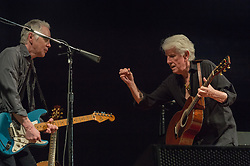July 2, 2018 - Rome, Italy, Italy - The legendary rock musician has performed, the only Italian date, at the Casa del Jazz in Rome on 2/7/2018 in the musical review 'I Concerti nel Parco'. Nash first with the Hollies then with Crosby, Stills and Young has collected many hits with songs passed to history. With him on stage Shane Fontaine on guitar and Todd Caldwell on keyboards. Shane Fontaine (L) and Graham Nash  (Credit Image: © Leo Claudio De Petris/Pacific Press via ZUMA Wire)