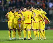The Welsh team celebrate at the final whistle<br /> <br /> - European Qualifier - Belgium vs Wales- Heysel Stadium - Brussels - Belgium - 16th November 2014  - Picture David Klein/Sportimage