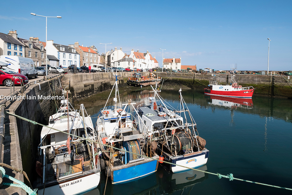View of harbour in historic fishing village of Pittenweem in the East Neuk of Fife , Scotland, United Kingdom