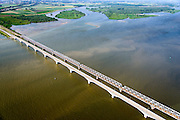 Nederland, Zuid-Holland, Hollandsch Diep 10-06-2015; Moerdijkbruggen over Hollandsch Diep.S poorbruggen gezien naar Dordtse Biesbosch.<br /> Bridges across Hollands Diep, motorway and two railway bridges.<br /> luchtfoto (toeslag op standard tarieven);<br /> aerial photo (additional fee required);<br /> copyright foto/photo Siebe Swart