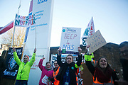 Junior doctors and supporters picket the Homerton University Hospital in Hackney to raise support. Juniro doctors all over the country are on a one day strike against the proposed new working conditions and pay by the Government.