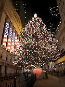 New York Stock Exchange decorated with the American flag during Christmas time