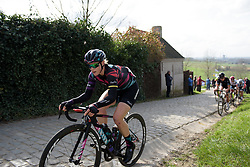 Tiffany Cromwell approaches the top of Paterberg at Dwars door Vlaanderen 2017. A 114 km road race on March 22nd 2017, from Tielt to Waregem, Belgium. (Photo by Sean Robinson/Velofocus)