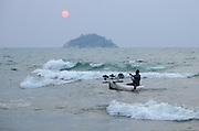 Fisher returns from an evening of usipa fishing at Senga Bay, Lake Malawi, Malawi.