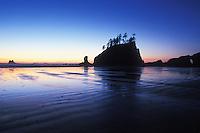 Sunset at 2nd Beach, Olympic National Park Coastal Strip, Washington, USA.  January 2000<br />