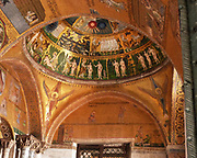 Detail from Saint Mark's Basilica (Basilica Cattedrale Patriarcale di San Marco). In Venice, Italy. Consecrated in 1650 AD. The image shows the inside of the domed ceiling.