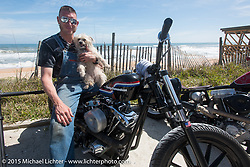 """""""Moonshiner Josh"""" Owens with his dog """"Cutie Pie"""" on his 2005 Harley-Davidson Softail on A1A south of Flagler Beach during Daytona Beach Bike Week 2015. FL, USA. March 13, 2015.  Photography ©2015 Michael Lichter."""