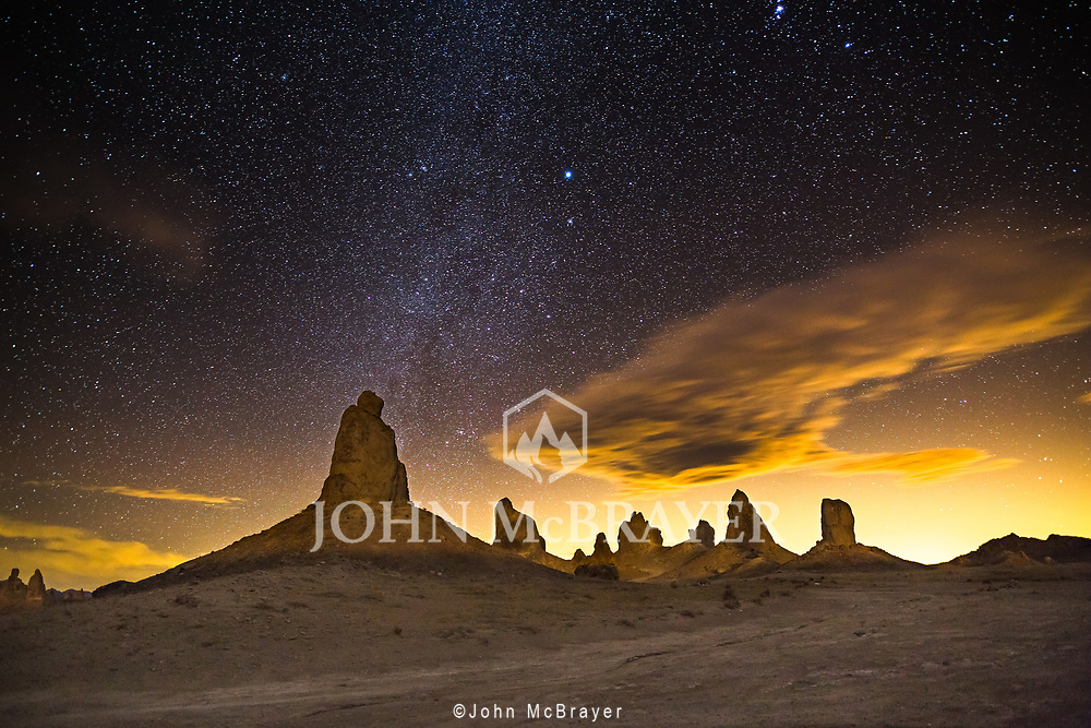 The winter sky over Trona Pinnacles near Death Valley.  The clouds were underlit by nearby mines. © John McBrayer
