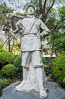 revolutionary hero statue in people's park in people's square Shanghai in republic popular of China