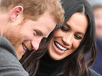 Prince Harry and Meghan Markle visit Edinburgh Castle, Edinburgh, UK, on the 13th February 2018.<br /> <br /> Picture by James Whatling
