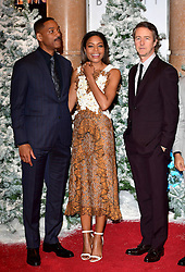 (left-right) Will Smith, Naomie Harris and Edward Norton attending the European premiere of Collateral Beauty, held at the Vue Leicester Square, London. PRESS ASSOCIATION Photo. Picture date: Monday 15th December, 2016. See PA Story SHOWBIZ Beauty. Photo credit should read: Ian West/PA Wire
