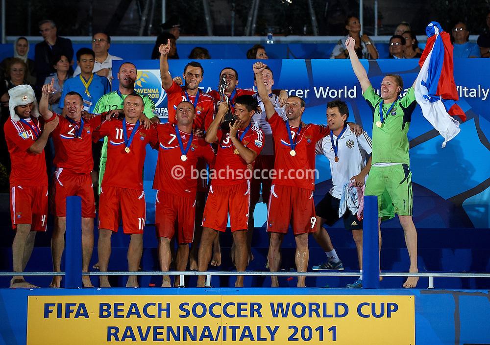 RAVENNA, ITALY - SEPTEMBER 10: FIFA Beach Soccer World Cup at the Stadium del Mare on September 10, 2011 in Ravenna, Italy. (Photo by Manuel Queimadelos)