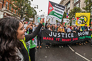 Outside the US Embasssy - National Palestine March and Rally - Justice Now: Make it right for Palestine. As the centenary of the Balfour Declaration has just passed on the 2nd November. Speakers addressed the crowd at Grosvenor Square (by the US Embassy) before the march through central London (via Piccadilly Circus and Trafalgar Square). This was followed by a rally in Parliament Square, where speakers again addressed the crowd.