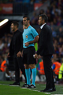 Luis Enrique give orders during the La Liga match between Barcelona and Atletico Madrid at Camp Nou, Barcelona, Spain on 21 September 2016. Photo by Eric Alonso.