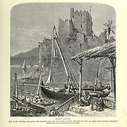 Wood engraving of Beirut castle. Built by the Crusaders, but partly with materials which had been used for earlier structures, for there are many granite columns introduced transversely into the lower part of the walls.from 'Picturesque Palestine, Sinai and Egypt' by Wilson, Charles William, Sir, 1836-1905; Lane-Poole, Stanley, 1854-1931 Volume 3. Published in by J. S. Virtue and Co 1883
