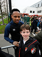 Nathaniel Clyne who on loan from Liverpool, has a photo with a young fan on arrival at the Vitality Stadium before the The FA Cup 3rd round match between Bournemouth and Brighton and Hove Albion at the Vitality Stadium, Bournemouth, England on 5 January 2019.