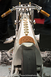 Dirk Oehlerking built this little racer from a turbo charged BMW R 80 RT at his Kingston Custom shop in Gelsenkirchen, Germany and displayed it here at the AMD World Championship of Custom Bike Building show in the custom dedicated Hall 10 at the Intermot Motorcycle Trade Fair. Cologne, Germany. Saturday October 8, 2016. Photography ©2016 Michael Lichter.