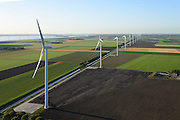 Nederland, Flevoland, Zeewolde, 24-10-2013;  Prinses Alexia windpark (voorheen windpark  De Zuidlob). Het windmolenpark (windpark) is een initiatief van  lokale  boeren en Nuon - Vattenfall. <br /> Wind farm De Zuidlob. The wind farm in the polder Flevoland is an initiative of local farmers and Nuon - Vattenfall. <br /> luchtfoto (toeslag op standard tarieven);<br /> aerial photo (additional fee required);<br /> copyright foto/photo Siebe Swart