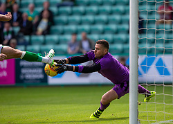 Hibernian's Christian Doidge in on Alloa Athletic's keeper Neil Parry. Hibernian 2 v 0 Alloa Athletic, Betfred Cup game played Saturday 20th July at Easter Road, Edinburgh.