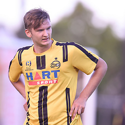 BRISBANE, AUSTRALIA - JANUARY 27: Rhys Gwyn-Jones of the Jets looks on during the Kappa Silver Boot Third Place match between Moreton Bay United and Brisbane City on January 27, 2018 in Brisbane, Australia. (Photo by Patrick Kearney)
