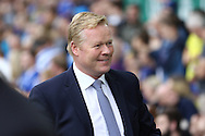 Everton Manager Ronald Koeman smiles as he looks on prior to kick off. Premier league match, Everton v Stoke city at Goodison Park in Liverpool, Merseyside on Saturday 27th August 2016.<br /> pic by Chris Stading, Andrew Orchard sports photography.