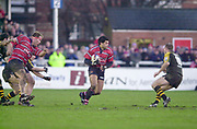 Gloucester, Gloucestershire, UK., 04.01.2003, [R] Robert TODD, tackled during, Zurich Premiership Rugby match, Gloucester vs London Wasps,  Kingsholm Stadium,  [Mandatory Credit: Peter Spurrier/Intersport Images],