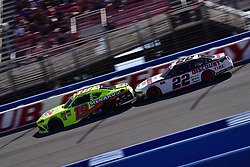 March 16, 2019 - Fontana, California, U.S. - FONTANA, CA - MARCH 16:  Brandon Jones (19) MenardÃ•s Toyota is bumped by Austin Cindric (22) American Tire/Discount Tire Ford on the track during the NASCAR Xfinity Series  race on March 16, 2019 at Auto Club Speedway in Fontana, CA.  (Photo by Lyle Setter/Icon Sportswire) (Credit Image: © Lyle Setter/Icon SMI via ZUMA Press)