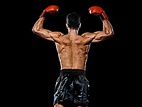 one caucasian young player man boxer boxing back rear view  in studio isolated on black background