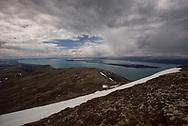 The view from Dumpling Mountain looking back towards King Salmon. Katmai National Park, Alaska.