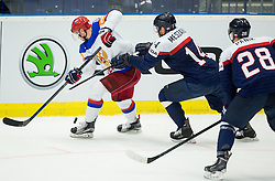 Sergei Mozyakin of Russia vs Andrej Meszaros of Slovakia during Ice Hockey match between Slovakia and Russia at Day 10 in Group B of 2015 IIHF World Championship, on May 10, 2015 in CEZ Arena, Ostrava, Czech Republic. Photo by Vid Ponikvar / Sportida