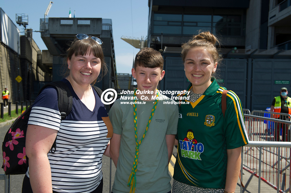 18-07-21. Meath v Dublin - Leinster SFC Semi-Final at Croke Park.<br /> Meath supporters L to R: Edel O'Donnell, James Morgan and Bridget O'Donnell from Trim were in Croke Park supporting Meath in Leinster SFC Semi-Final.<br /> Photo: John Quirke / www.quirke.ie<br /> ©John Quirke Photography, 16 Proudstown Road, Navan. Co. Meath. (info@quirke.ie / 046-9028461 / 087-2579454).