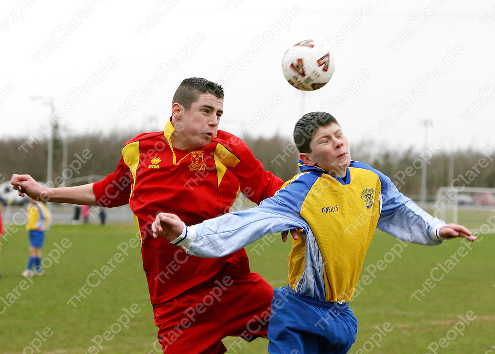 Mike Dinan and Mark Madigan go for a high ball  during the Avenue V Fairview Rangers match at Lees road on Saturday.<br /><br />Photograph by Eamon Ward