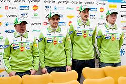 Nordic ski team at press conference of Slovenian Nordic Ski Jumping teams before season 2013/14, on November 19, 2013 in Gorenje, Ljubljana, Slovenia. (Photo By Urban Urbanc / Sportida.com)
