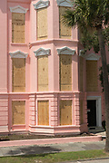 The Palmer House historic inn on the Battery boarded up in preparation for Hurricane Irma September 8, 2017 in Charleston, South Carolina. Imra is expected to spare the Charleston area but hurricane preparations continue as Irma leaves a path of destruction across the Caribbean.