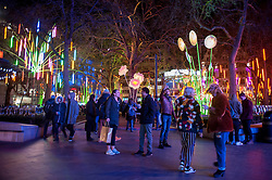"© Licensed to London News Pictures. 14/01/2016. London, UK. Visitors enjoy ""Garden of Light"" by TILT in Leicester Square. The work forms part of Lumiere London, a major new light festival which commenced today to be held over four evenings and featuring artists who work with light.  The event is produced by Artichoke and supported by the Mayor of London.  Photo credit : Stephen Chung/LNP"