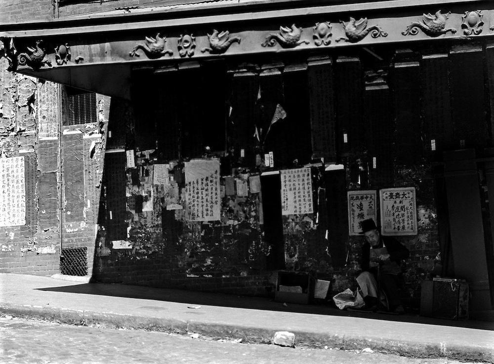 Man Seated Outside Store, Chinatown, San Francisco, California, 1926