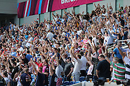 Fans doing a Mexican Wave during the Rugby World Cup 2015 match between Samoa and USA at the Brighton Community Stadium, Falmer, United Kingdom on 20 September 2015.