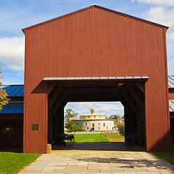 The entrance to the Hancock Shaker Village in Hancock, Massachusetts.