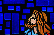 Stained glass depicting Jesus Christ, seen on Sunday, April 18, 2021, at Iglesia Luterana Cristo El Salvador, Del Rio, Texas. LCMS Communications/Erik M. Lunsford