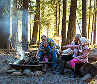 Family camping at Lake of the Woods in Southern Oregon.