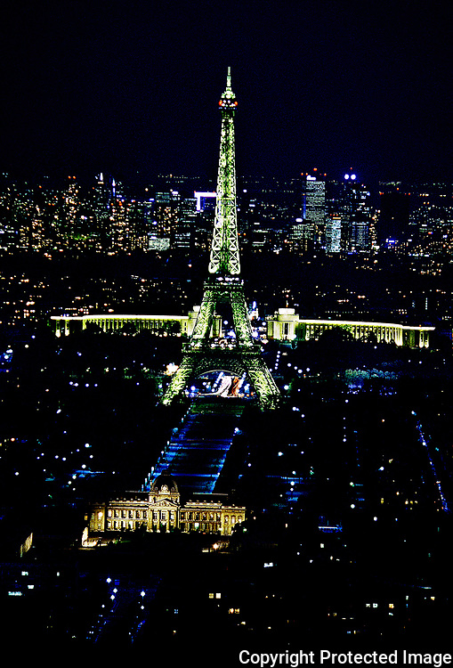 Eiffel Tower and Ecole Militaire at Night, Trocadero and Palais de Chaillot