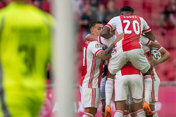 Dusan Tadic of Ajax scores and celebrate with Mohammed Kudus of Ajax, Lisandro Martinez of Ajax during eredivisie round 02 between Ajax and RKC at Johan Cruyff Arena on September 20, 2020 in Amsterdam, Netherlands