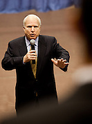 Sen. John McCain (R-AZ) answers a question from the audience during a health care town hall meeting with fellow Republican Sen. Lindsay Graham September 14, 2009 at the Citadel in Charleston, SC.