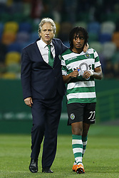 April 22, 2018 - Lisbon, Lisboa, Portugal - Sporting CP head coach Jorge Jesus from Portugal (L) and Sporting CP Midfielder Gelson Martins from Portugal (R) during the Premier League 2017/18 match between Sporting CP and Boavista FC, at Alvalade Stadium in Lisbon on April 22, 2018. (Credit Image: © Dpi/NurPhoto via ZUMA Press)