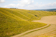Steep chalk scarp slope and the Vale of the White Horse looking west from near Uffington castle,  Oxfordshire, England, UK